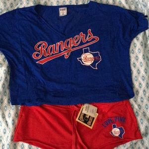 Hard to find New PINK Texas Rangers Shirt / Shorts